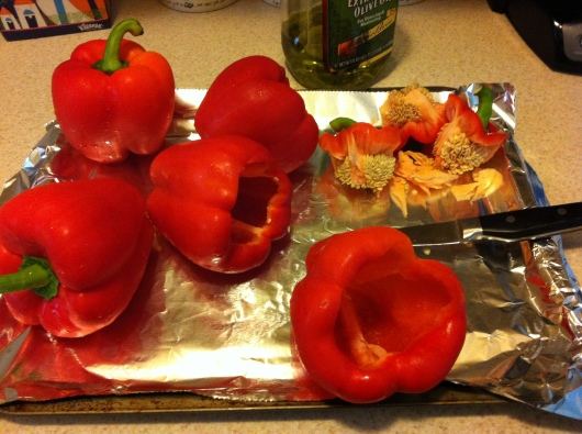 Cut the tops off/core the peppers