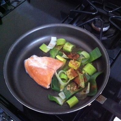 Throw leeks and salmon in a pan for a quick, healthy lunch