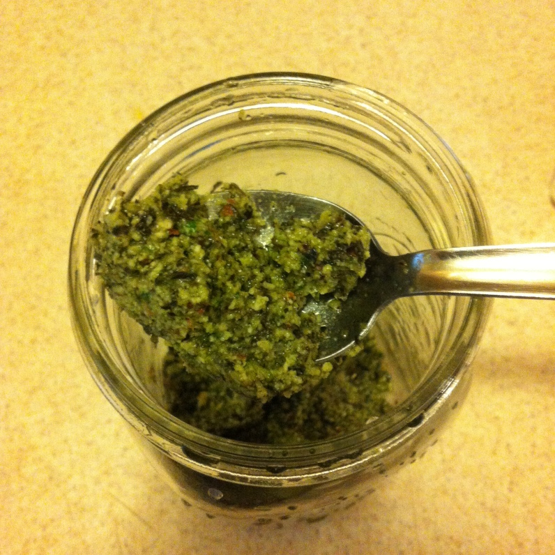 Mmm, Basil Almond Pesto...