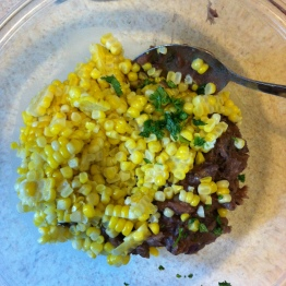 Corn kernels, cilantro, and bean mixture
