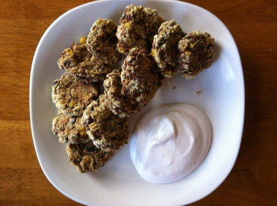 Black Bean and Corn Fritters with Spicy Sour Cream Dip