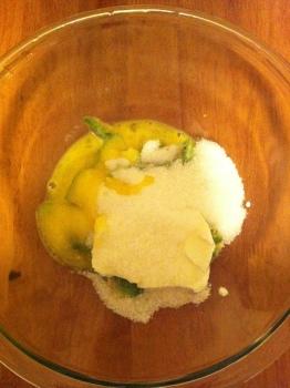 Avocado, sour cream, egg, and sugar