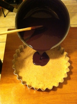 Pour the chocolate mixture onto the base