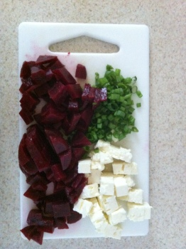 Chop your beets, feta, and spring onions...