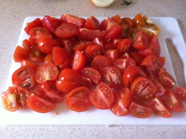 Chop your tomatoes. I've used campari tomatoes, which are essentially super-big cherry tomatoes.
