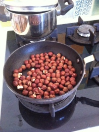 Hazelnuts in the pan, ready to roast!