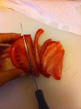Slice your tomatoes as thin as possible! Slicing from the inside is easier.