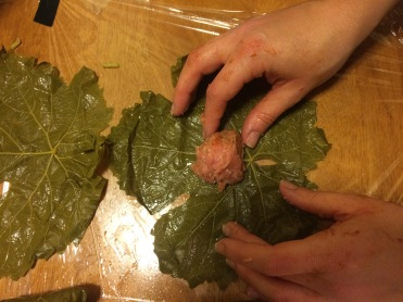 Place the filling at the bottom-center of the leaf and roll it up
