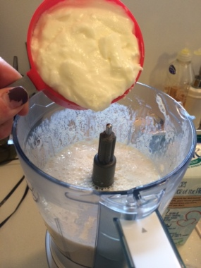 Yogurt, lemon juice, and soy milk in the food processor