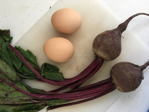 Two beets, two eggs.